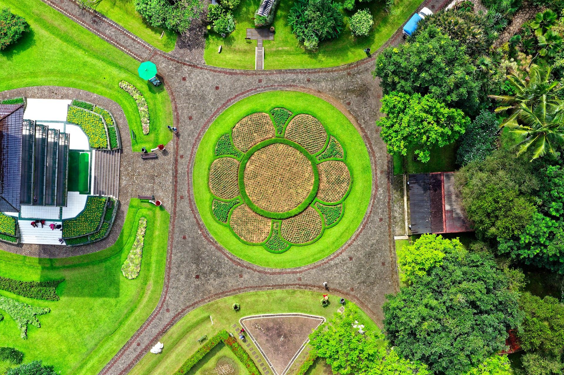 drone shot bird's eye view garden indonesia aerial shot from above