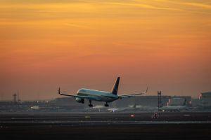 airplane evening sun frankfurt airport