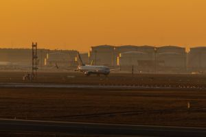 airport evening sun airplane frankfurt