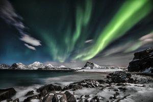arctic night northern lights norway nature lofoten winter evening aurora starry night winter aurora polaris