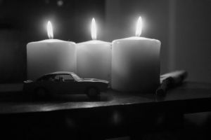 automobile candle black and white