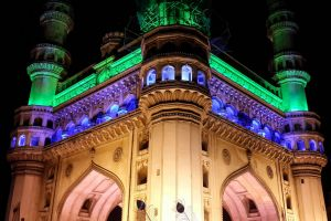 black night lights pillar india place city