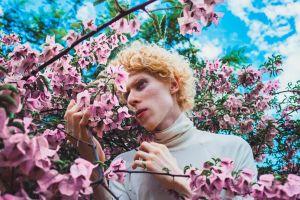 blossom flowers man person bloom flora plant
