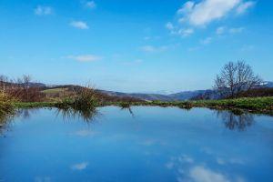 blue water landscape winter landscape