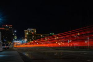 cars commuting long exposure vehicles urban highway downtown blur speed time-lapse