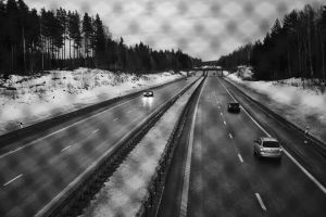 cars drive road