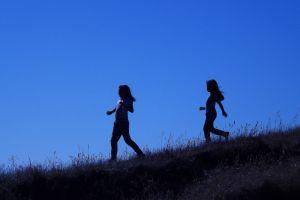 childhood sky girls blue country