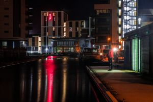 city light and shadow water colour photographic night canon photo red edinburgh
