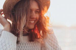 close-up blur focus facial expression smile wear hair model portrait attractive