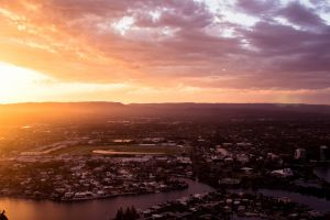 cloudy highpoint landscape city mountains scenery beach sunset