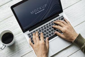 coffee hands laptop mug mock up beverage electronics drink mockup cup