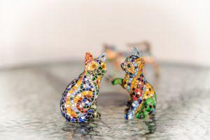 collectors item ornaments mosaics cute cats pretty glass table animals colourful