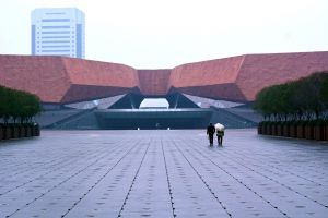 couple building hubei couple walking city wuhan china