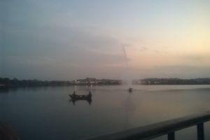 dam lakeside ship