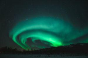 dark green winter dramatic sky aurora norway northern lights landscape aurora borealis