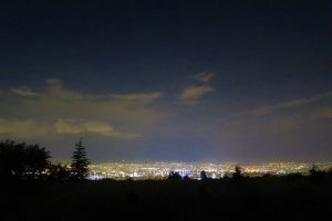 dawn night horizon city lights city