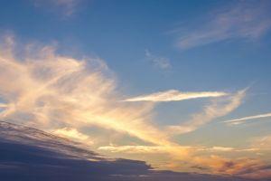 dawn sunset sky clouds blue weather sunrise