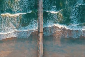 daylight dock aerial view aerial photography sand beach sea ocean top view drone shot