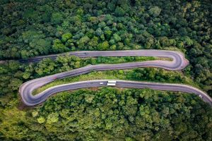 design landscape bright asphalt aerial shot highway scenic from above bird's eye view drone footage