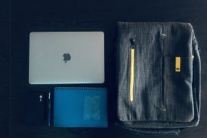 designer office table office work freelancer workspace jotter macbook pro