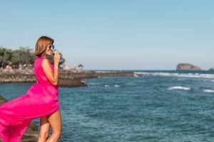 drinking wine drink lady ocean standing beach woman daylight glamour