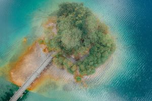 drone photography water bird's eye view peaceful aerial view wooden bridge nature drone shot aerial photography calm