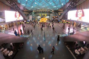dubai tourists traveling arrival illuminated modern airport city timelapse departure