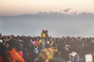 early morning tourist attraction snow capped mountain people walking tourist destination tourist spot scenic view mountains