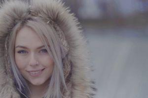 fashion model woman slow motion winter jacket model winter blonde