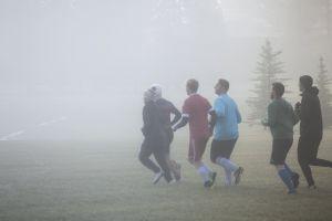 fog team foggy morning fitness soccer players
