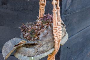 fresh decorative flower leather flowerpot creative wooden footwear gardening string