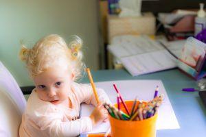 girl light reflections blonde hair chair colored pencils pillow pretty cute blue eyes cute girl