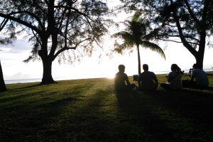 grass sunset beach best friends