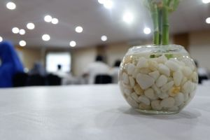 green light vase seminar white stone water