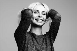 happiness wear cute joy beautiful female hair studio elbows model