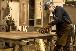 hardworking machine steel construction man fire work