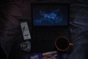 harry potter a laptop laptop chocolate tea