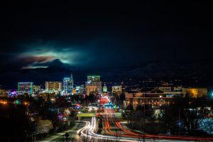 highway city lights illuminated buildings skyline time-lapse city time-lapse photography sky roadway