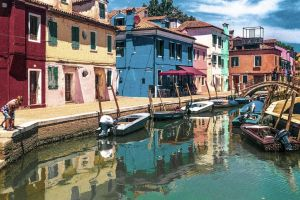italy colorful canal colors horizontal painting venice children burano colorful houses