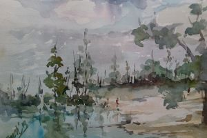 landscape water color on paper water colors