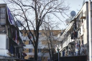 laundry stretched out to dry buildings tree poverty