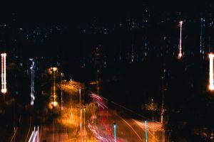light night night city car lights city