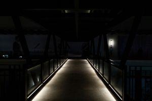 lights night glass bridge neon light