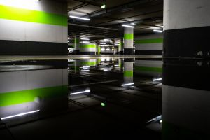 multi-storey car park darkness brightness color light light reflections water green