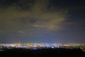 night city lights horizon sunset dawn city