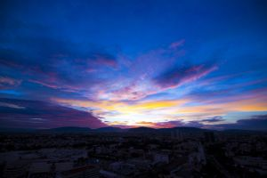night clouds colors height city sunset