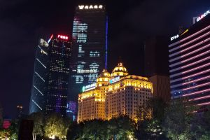 nightlife cbd night city guangdong greater bay area night city guangzhou building lightshow