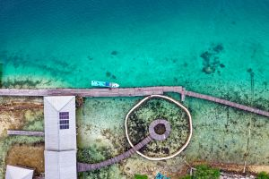 ocean bird's eye view drone shot aerial shot sea from above indonesia