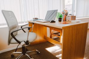 office interior contemporary sunlight wood laptop office space design floor inside