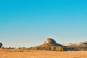 orange yellow iconic blue rocky clarens mountains africa nature blue sky